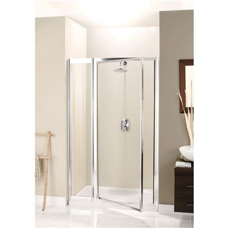 Pivot Shower Door with Inline Panel