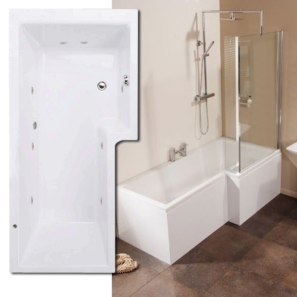 Right Hand L Shaped Whirlpool Shower Bath with 8 Jets