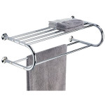 All Chrome Wall Mounting Shelf with Towel Rack