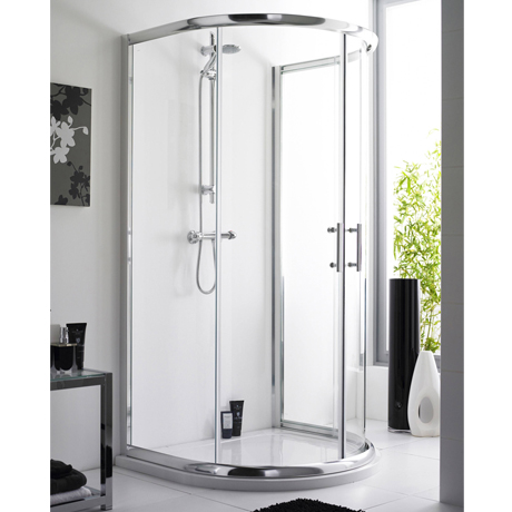 D-Shape Shower Enclosure with Shower Tray & Waste