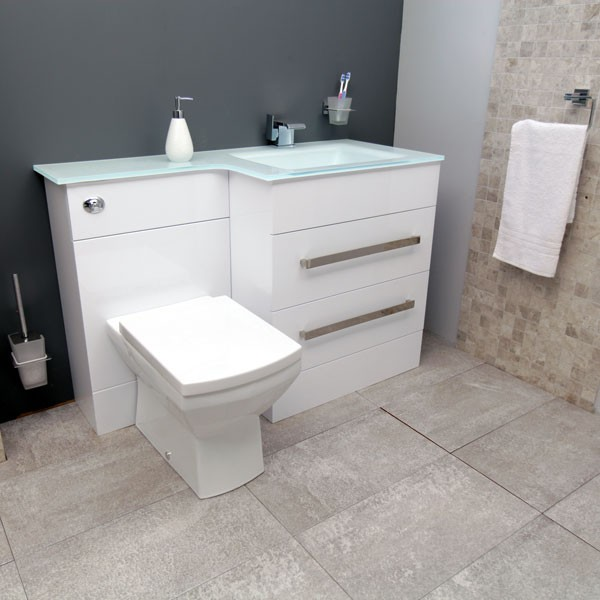 Right Hand Combination Unit and White Basin