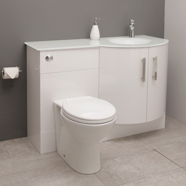 Right Hand Bow Front Combination Unit with White Basin