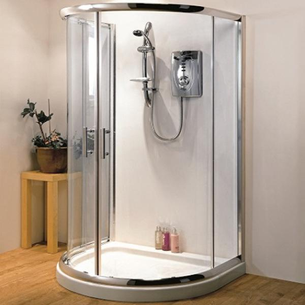 D Shaped Quadrant Shower Enclosure 6mm Glass No Tray & Waste