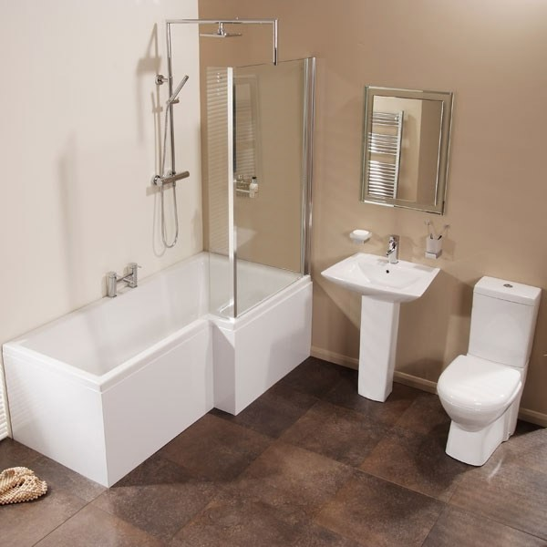 Right Hand Shower Bath Suite With Taps